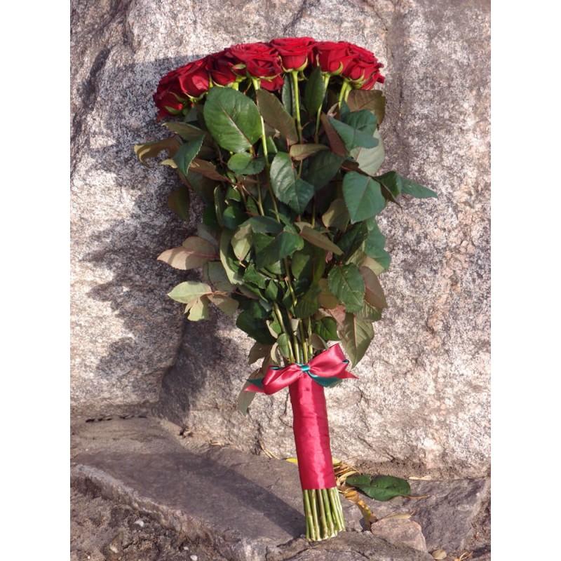 51 красная роза Гран При 80 см